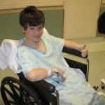 Owain undergoing cancer treatment